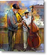 Street Musicians In Prague In The Czech Republic 01 Metal Print