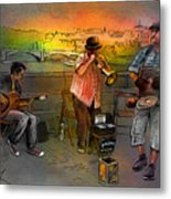 Street Musicians In Prague In The Czech Republic 03 Metal Print