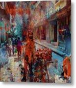 Street Of Nepal Colored  Metal Print