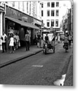 Street Riding In Amsterdam Mono Metal Print