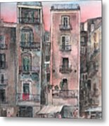 Street Scene At Twilight Metal Print by Arline Wagner