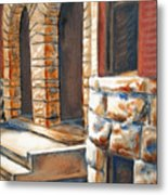Street Scene Oil Painting Metal Print