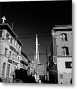 Street Scene With Transamerica Pyramid From Chinatown  Metal Print