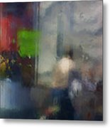 Street With Motorcyclist.  Metal Print