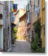 Street With Sunshine In Villefranche-sur-mer Metal Print