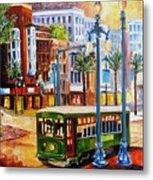 Streetcar On Canal Street Metal Print