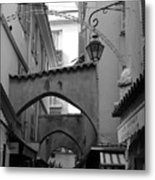 Streets Of Cannes 1 In Black And White Metal Print