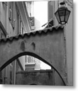 Streets Of Cannes 2 In Black And White Metal Print