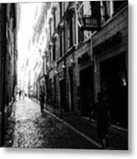 Streets Of Rome 2 Black And White Metal Print