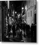 Streets Of Rome At Night  Metal Print