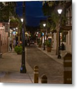 Streets Of St. Augustine At Night Metal Print