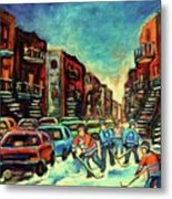 Streetscenes Of Montreal Hockey Paintings By Montreal Cityscene Specialist Carole Spandau Metal Print