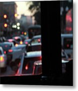 Stret Car Traffic Metal Print