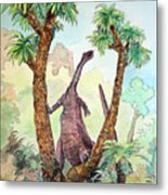 Stretching For Lunch Metal Print