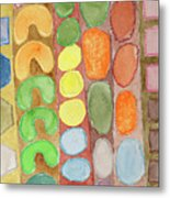 Striped Colorful Pattern With Croissants  Metal Print