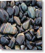 Striped Pebbles Metal Print
