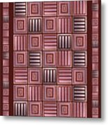 Striped Squares On A Brown Background Metal Print