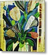 Striped Tulips At The Old Apartment Metal Print