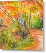 Strolling Along The Canal Metal Print