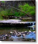 Strolling By The Stream Metal Print