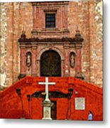 Strolling The Cathedral Plaza Metal Print