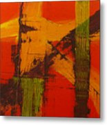 Structure In Orange Metal Print