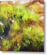 Structure Of Wooden Log Covered With Moss, Closeup Painting Detail. Metal Print