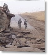 Stryker Vehicle Lies On Its Side Metal Print