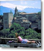 Student At The Alhambra Metal Print