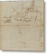 Studies Of Lago Maggiore And And The Entrance To A Palazzo Metal Print