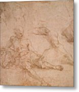 Study For The Figure Of Diogenes In The School Of Athens Metal Print