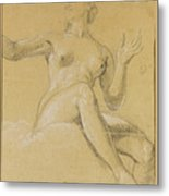 Study Of A Female Figure Seated On Clouds Metal Print