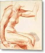 Study Of A Female Nude Seated Metal Print