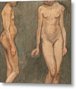 Study Of A Naked Model Metal Print