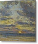 Study Of The Sky With Setting Sun Metal Print