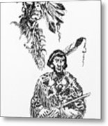 Study Of Two Indians Metal Print