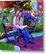 Studying Before Class Metal Print
