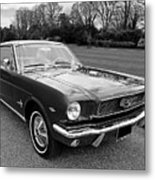 Stunning 1966 Mustang In Black And White Metal Print