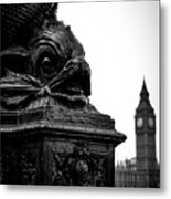 Sturgeon Lamp Post With Big Ben London Black And White Metal Print