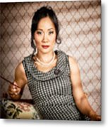Stylish Vintage Asian Pin-up Lady With Cigarette Metal Print by Jorgo Photography - Wall Art Gallery