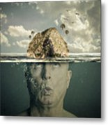 Submerged Man Metal Print