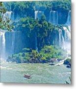 Subtropical Vegetation Surrounds Waterfalls In Iguazu Falls National Park-brazil Metal Print