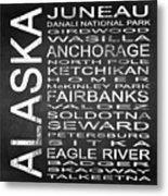 Subway Alaska State Square Metal Print