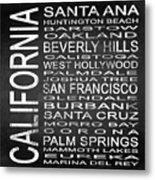 Subway California State Square Metal Print