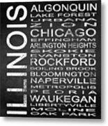 Subway Illinois State Square Metal Print