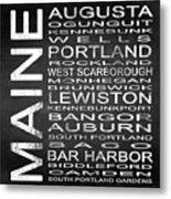 Subway Maine State Square Metal Print