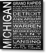 Subway Michigan State Square Metal Print