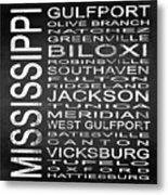 Subway Mississippi State Square Metal Print
