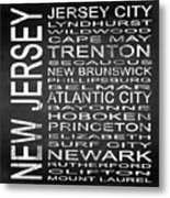 Subway New Jersey State Square Metal Print