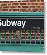Subway Sign In New York City Metal Print